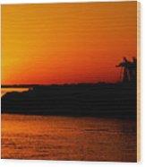 Egyptian Sunset On Lake Nasser Wood Print