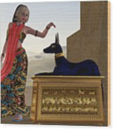 Egyptian Woman And Anubis Statue Wood Print
