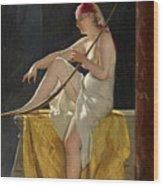 Egyptian Woman With Harp Wood Print