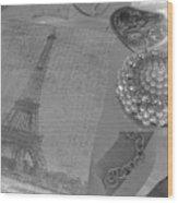 Eiffel Shades Of Grey Wood Print