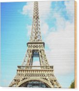 Eiffel Tower Portrait Wood Print