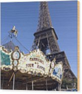 Eiffel Tower And Ancient Carousel Wood Print
