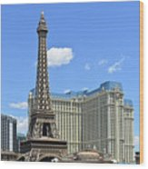 Eiffel Tower And Paris Casino And A Powder Blue Sky Wood Print