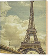 Eiffel Tower And Pont D'lena Vintage Wood Print