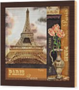Eiffel Tower And Roses Wood Print