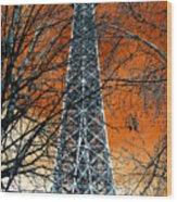 Eiffel Tower Behind The Trees Pop Art Wood Print