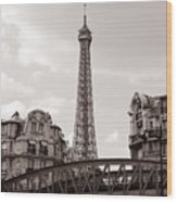 Eiffel Tower Black And White 3 Wood Print