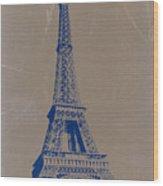 Eiffel Tower Blue Wood Print