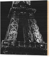 Eiffel Tower Illuminated At Night First And Second Decks Paris France Black And White Wood Print