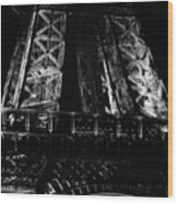 Eiffel Tower Illuminated At Night First Floor Deck Paris France Black And White Wood Print