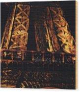 Eiffel Tower Illuminated At Night First Floor Deck Paris France Wood Print