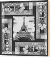 Eiffel Tower In Black And White Design I Wood Print
