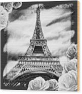 Eiffel Tower In Black And White Design IIi Wood Print