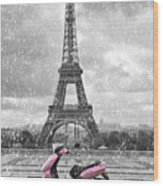 Eiffel Tower In The Rain With Pink Scooter Of Paris. Black And W Wood Print