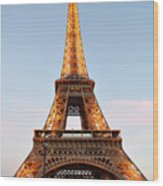 Eiffel Tower Lighted  Wood Print
