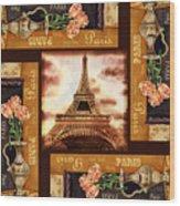 Eiffel Tower Roses Dance Wood Print