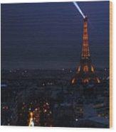 Eiffel Tower Spotlight Paris France Wood Print