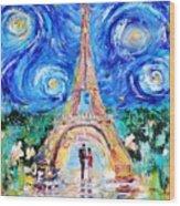 Eiffel Tower Starry Night Romance Wood Print