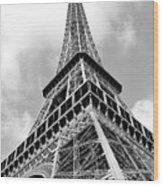 Eiffel Tower Sunlit Corner Perspective Paris France Black And White Wood Print