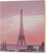 Eiffel Tower Sunset Art Wood Print