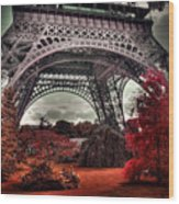 Eiffel Tower Surreal Photo Red Trees Paris France Wood Print