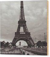 Eiffel Tower With Bridge In Sepia Wood Print