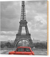Eiffel Tower With Car. Black And White Photo With Red Element. Wood Print