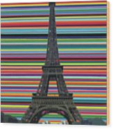 Eiffel Tower With Lines Wood Print