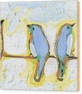 Eight Little Bluebirds Wood Print