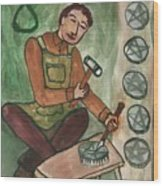 Eight Of Pentacles Illustrated Wood Print