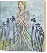 Eight Of Swords Illustrated Wood Print
