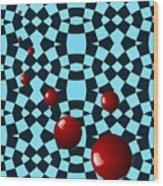 Eight Red Balls Wood Print