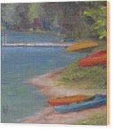 Eighth Lake Canoes Wood Print