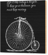 Einstein's Bicycle Quote - White Wood Print