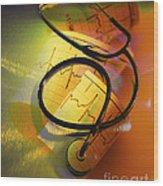 Ekg Stethoscope Composite Wood Print