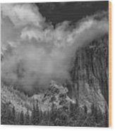 El Capitan And The Stormy Clouds Wood Print