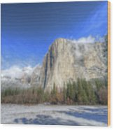 El Capitan Meadow Winter Yosemite National Park II Wood Print
