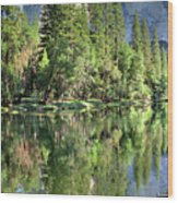 El Capitan Over The Merced River - Yosemite Valley Wood Print