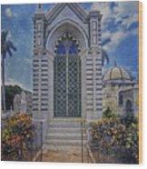 Elaborate Mausoleum  Colon Cemetery Havana Cuba Espada Cemetery Wood Print