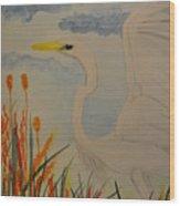 Elana - Egret Wood Print