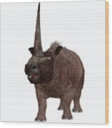 Elasmotherium On White Wood Print