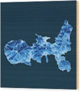 Elba Island Topographic Map Blue Color Top View Wood Print