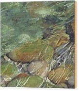 Elbow River Rocks 3 Wood Print