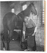 Elderly Blacksmith Shoeing Horse Wood Print