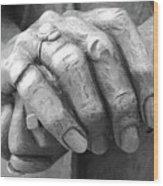 Elderly Hands Wood Print