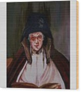 Elderly Lady Reading A Book Wood Print