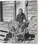 Elderly Woman Spinning Wool, C.1920s Wood Print