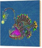 Electric Angler Fish Wood Print