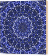 Electric Blue Mandala Wood Print