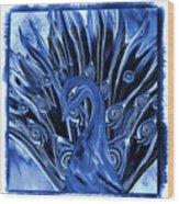 Electric Blues Peacock Wood Print